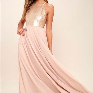Lulu's Gold and Blush Maxi Dress chiffon